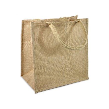Промо сумка из джута квадратная