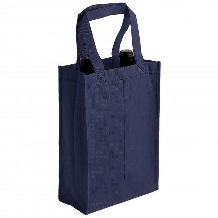 Промо сумка из спанбонда для двух бутылок, синяя