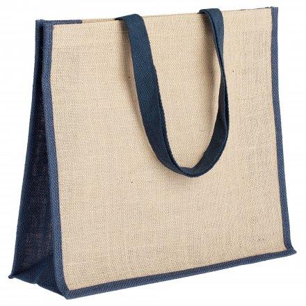 Джутовая сумка с синей отделкой