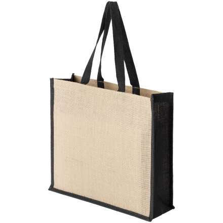 Джутовая сумка с черной отделкой