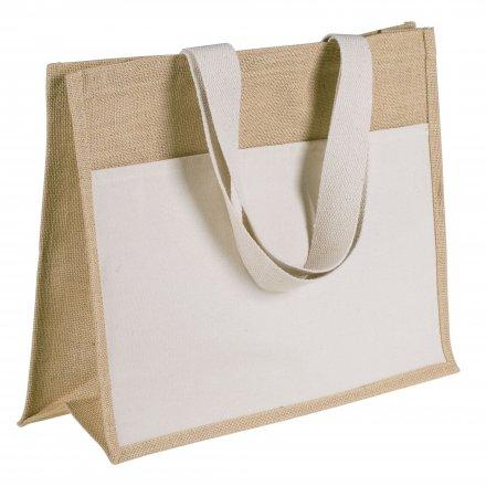 Джутовая сумка с боковым карманом на плечо