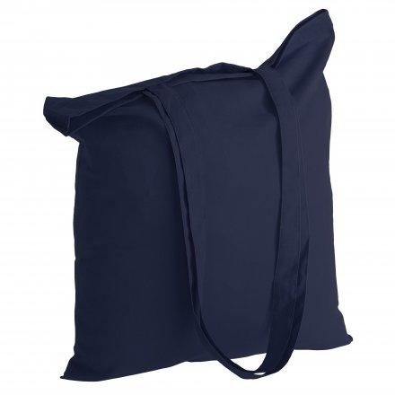 Промо сумка из хлопка с ручками, темно-синяя