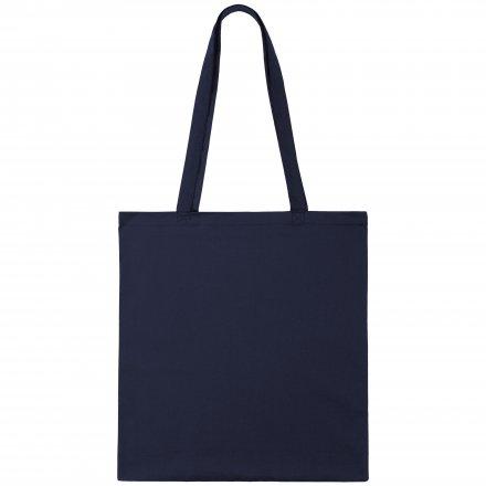 Промо сумка из хлопка с ручками, темно-синий, 41х44 см