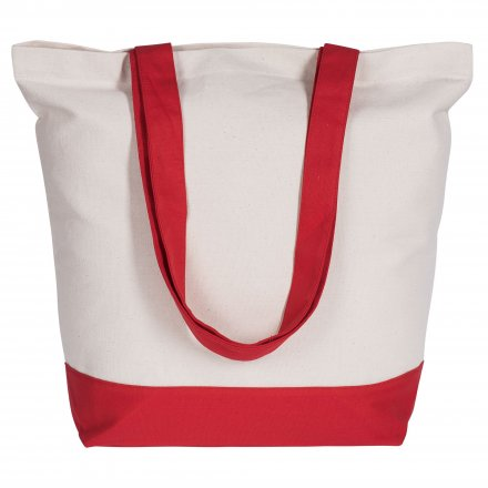 Холщовая сумка из хлопка 280, красная отделка