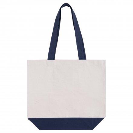 Холщовая сумка из хлопка 280, синяя отделка
