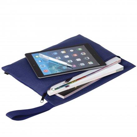 Конференц-сумка с боковой ручкой-петлей, темно-синяя