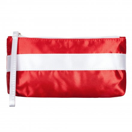 Пенал-косметичка из оксфорда 300D, красная с белым