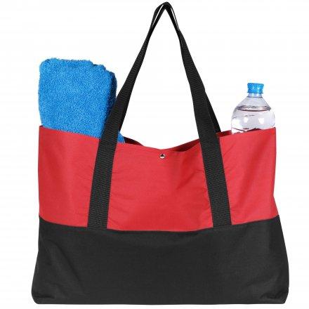 Промо сумка для покупок из оксфорда 600D, красная с черным
