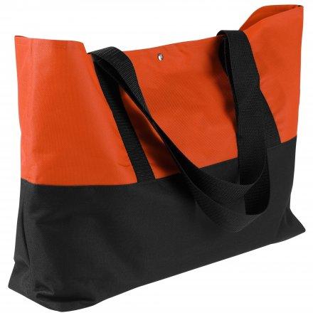 Промо сумка для покупок из оксфорда 600D, оранжевая с черным