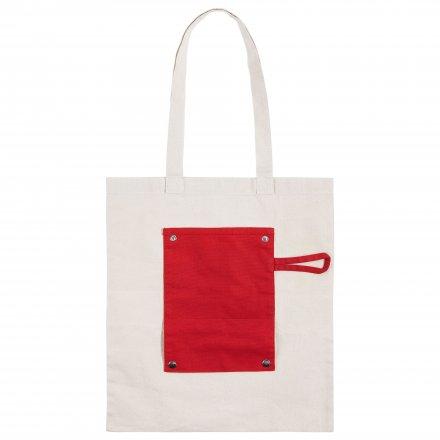 Складная промо сумка из хлопка, красная