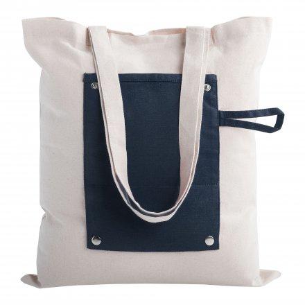 Складная промо сумка из хлопка, синяя