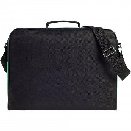 Конференц сумка для документов Institute, чёрная с зелёным