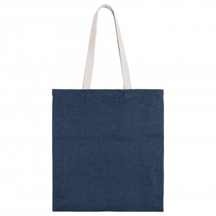 Джутовая сумка с ручками из хлопка, синяя