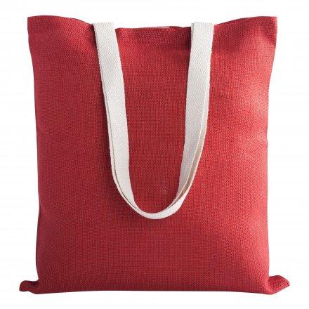 Джутовая сумка с ручками из хлопка, красная