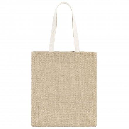 Джутовая сумка с ручками из хлопка, натуральный цвет