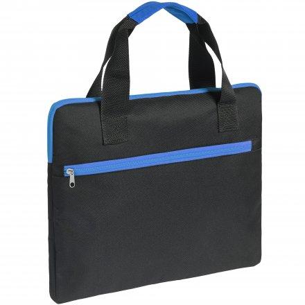 Конференц-сумка из оксфорда 600D, чёрная с синим