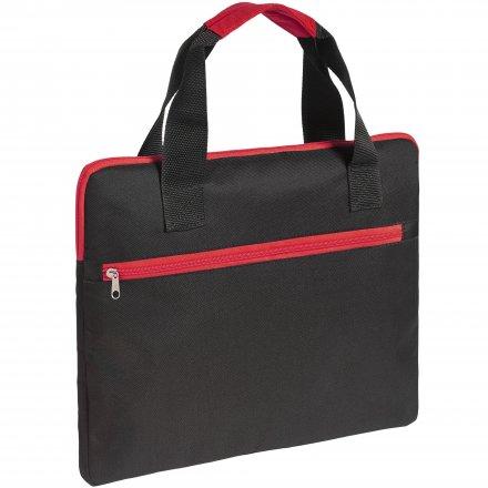 Конференц-сумка из оксфорда 600D, чёрная с красным